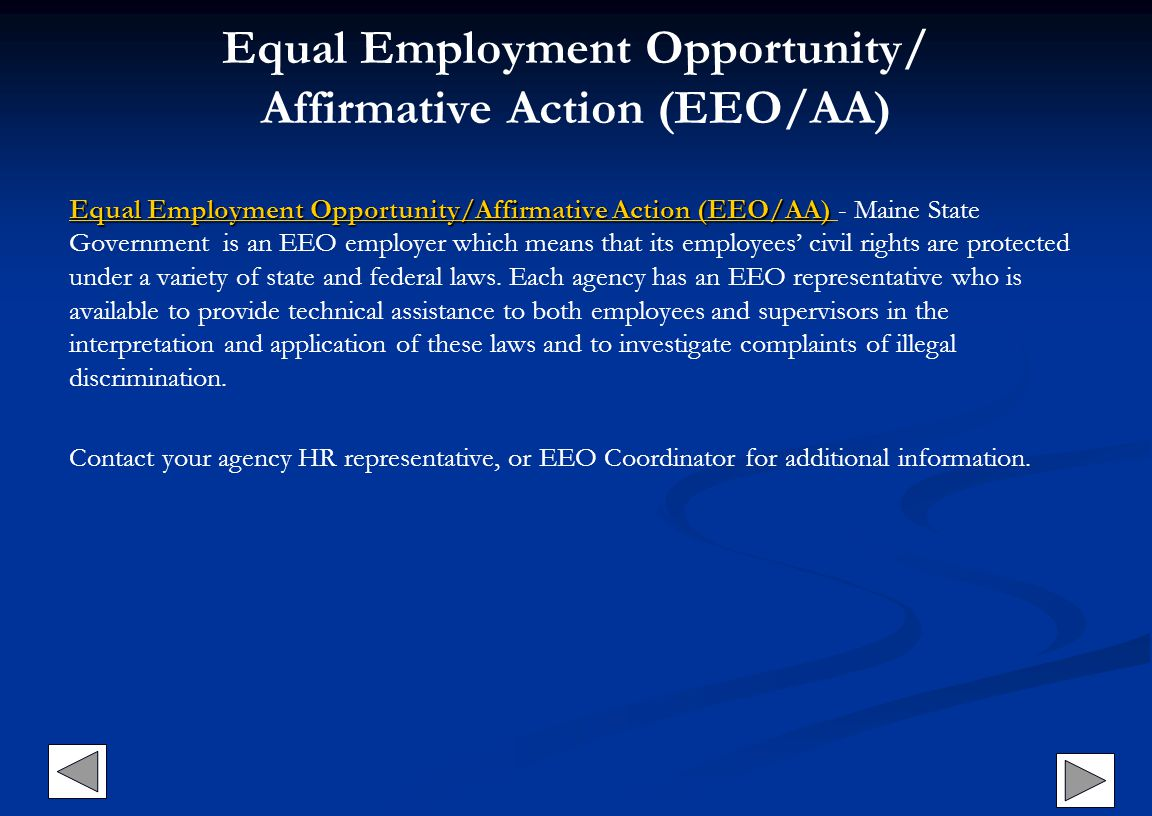 Equal Employment Opportunity/ Affirmative Action (EEO/AA)