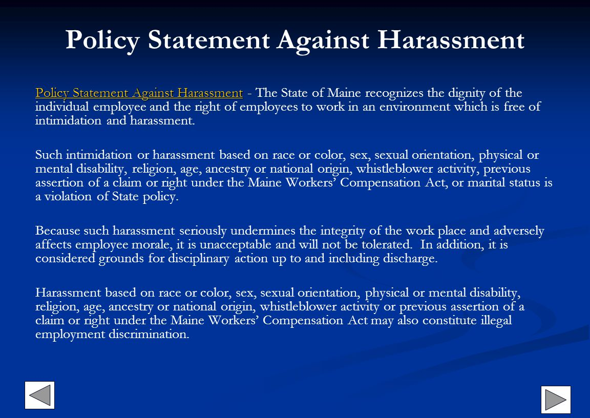 Policy Statement Against Harassment