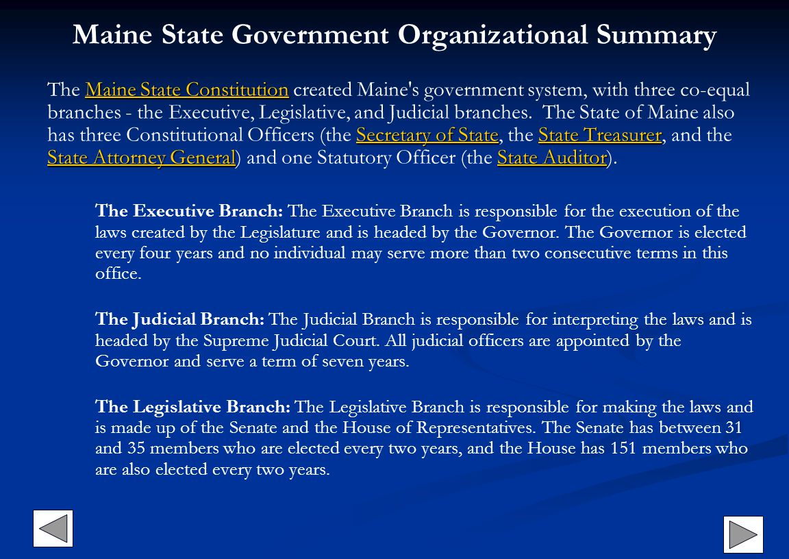 Maine State Government Organizational Summary