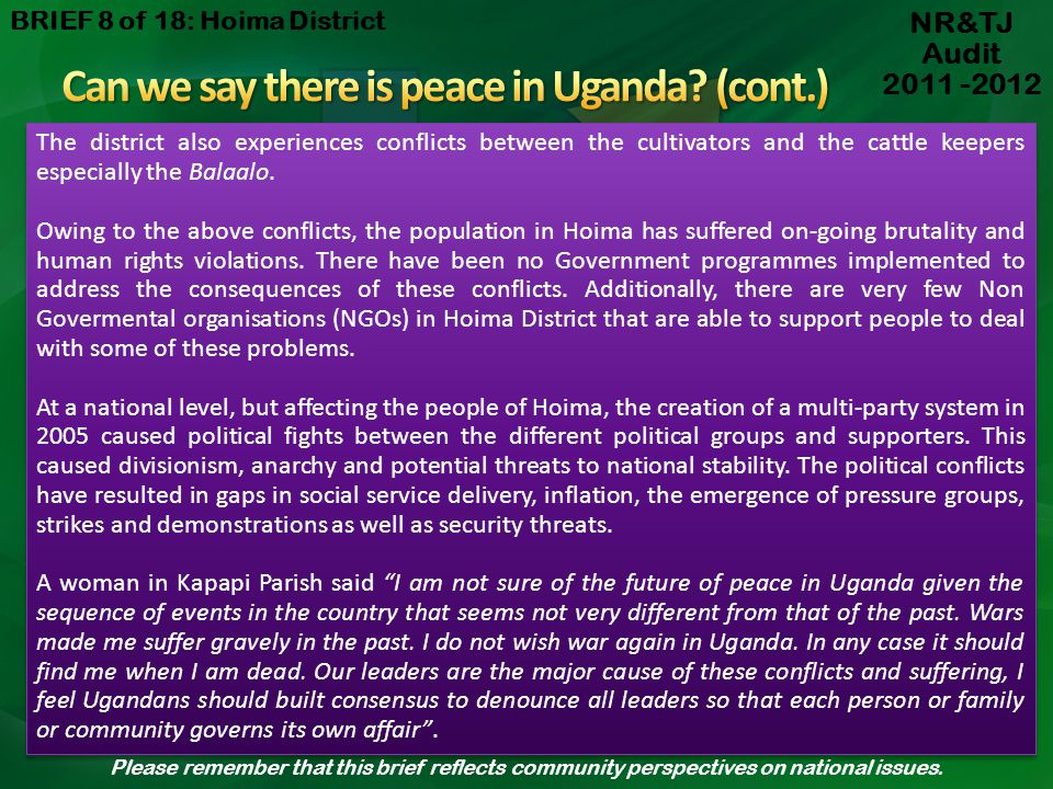 Can we say there is peace in Uganda (cont.)