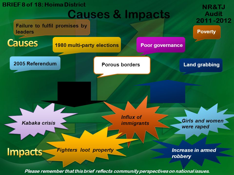 Causes & Impacts Causes Impacts NR&TJ Audit 2011 -2012