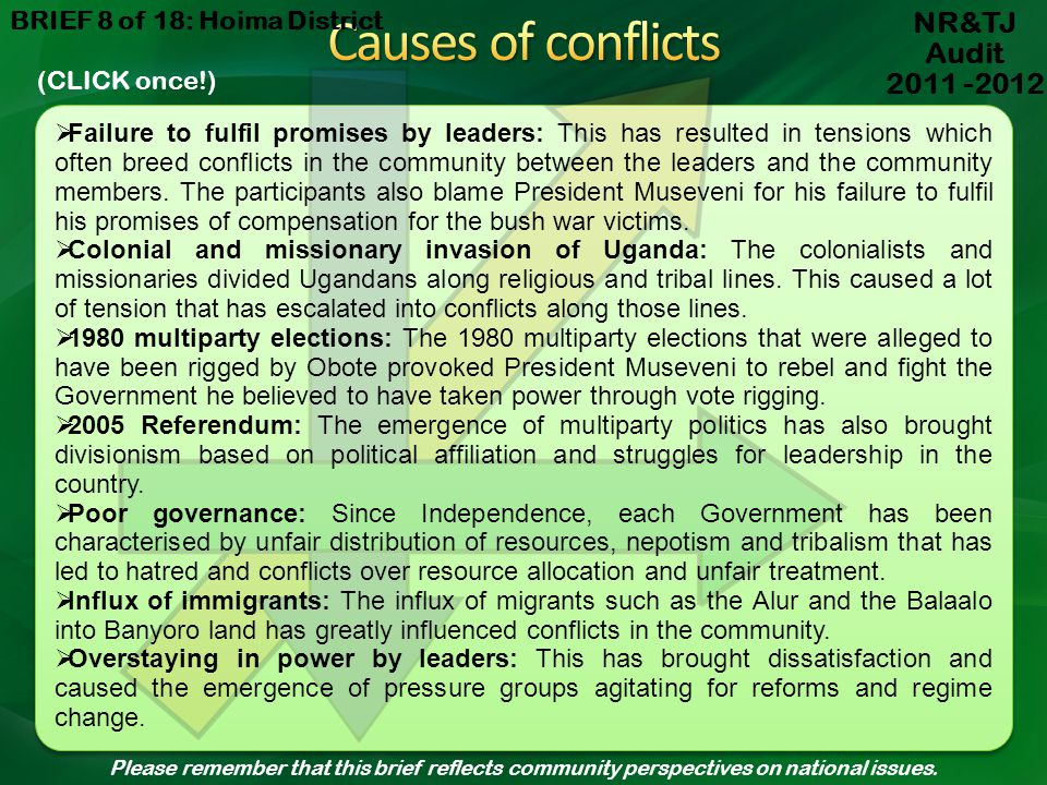 Causes of conflicts NR&TJ Audit 2011 -2012