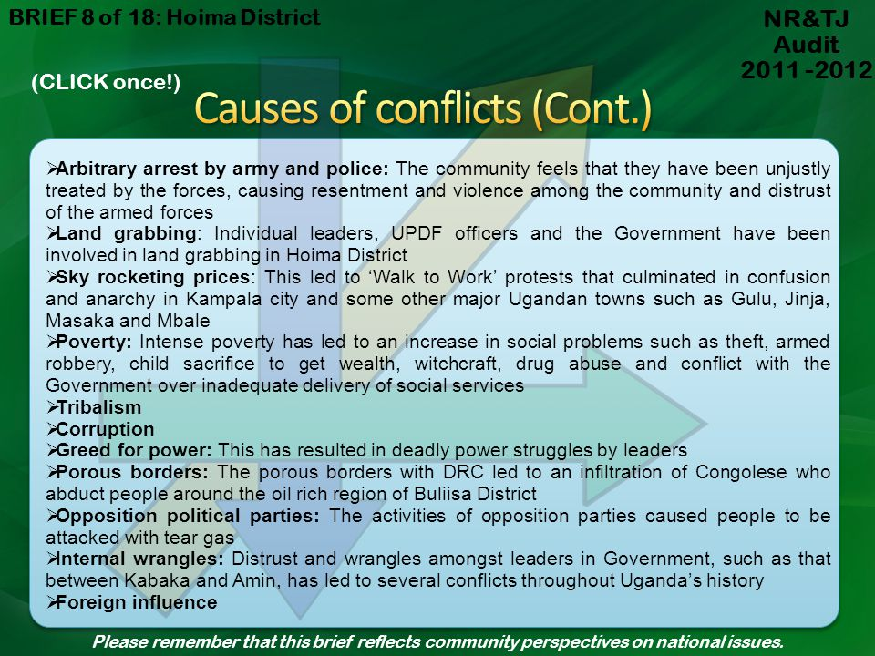 Causes of conflicts (Cont.)