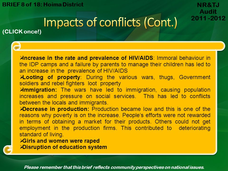 Impacts of conflicts (Cont.)
