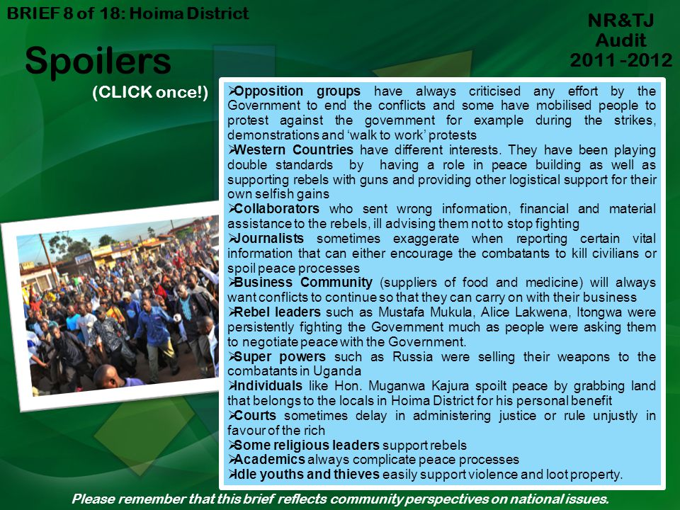 Spoilers NR&TJ Audit 2011 -2012 BRIEF 8 of 18: Hoima District