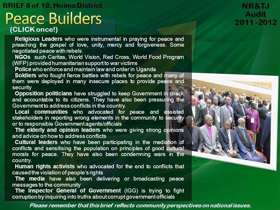 Peace Builders NR&TJ Audit 2011 -2012 BRIEF 8 of 18: Hoima District