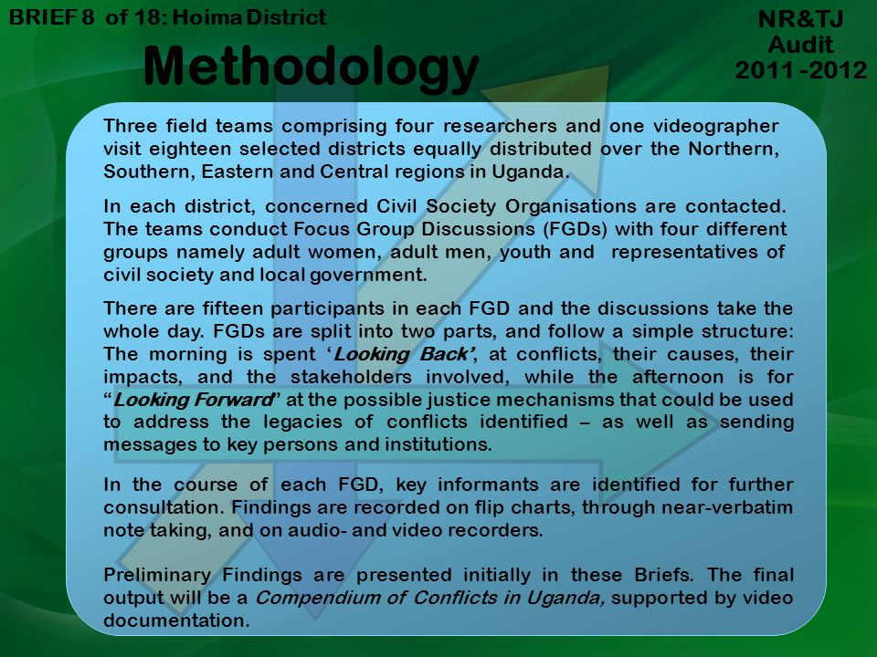 Methodology NR&TJ Audit 2011 -2012 BRIEF 8 of 18: Hoima District