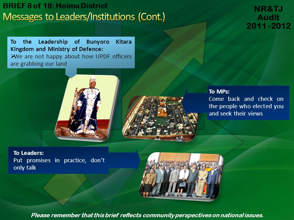 Messages to Leaders/Institutions (Cont.)