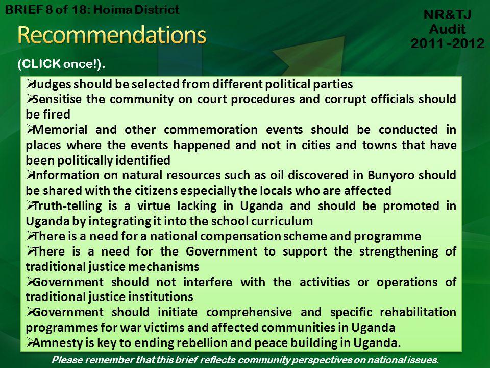 Recommendations NR&TJ Audit 2011 -2012