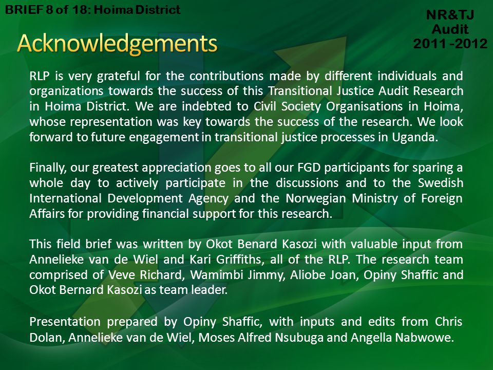 Acknowledgements NR&TJ Audit 2011 -2012