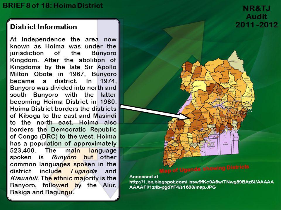 NR&TJ Audit 2011 -2012 BRIEF 8 of 18: Hoima District