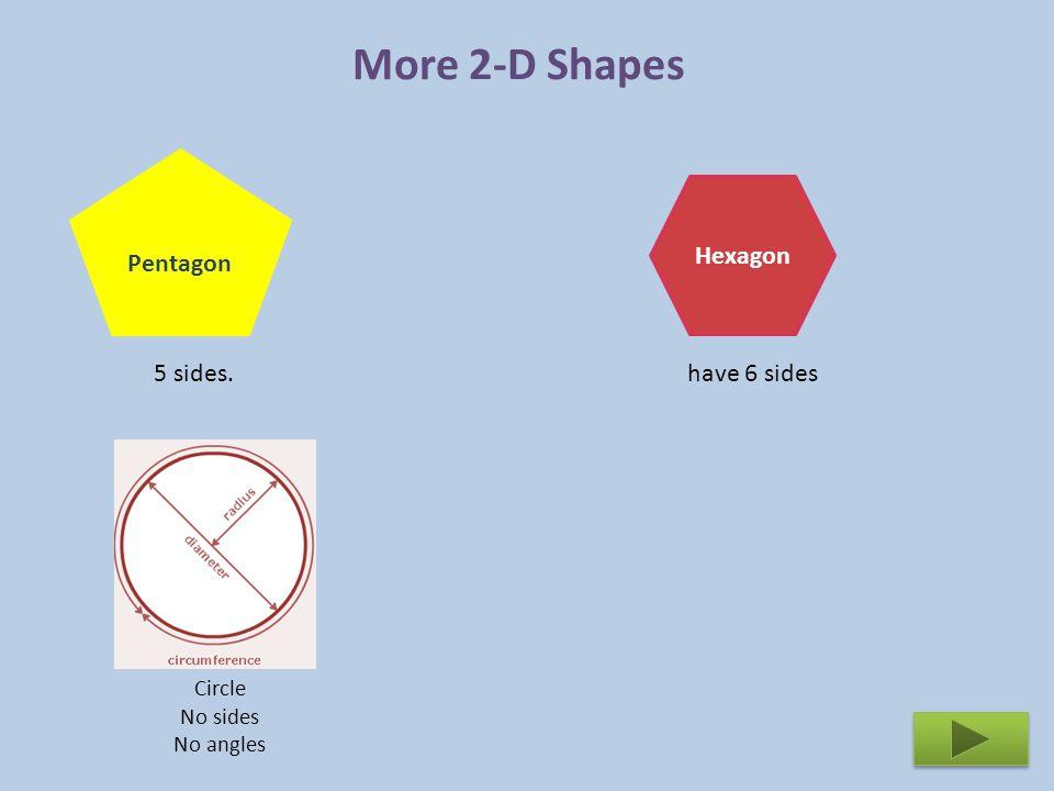 More 2-D Shapes Pentagon Hexagon 5 sides. have 6 sides Circle No sides