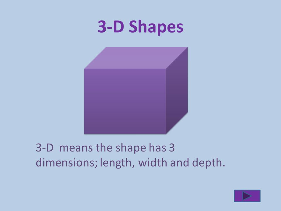 3-D Shapes 3-D means the shape has 3 dimensions; length, width and depth.