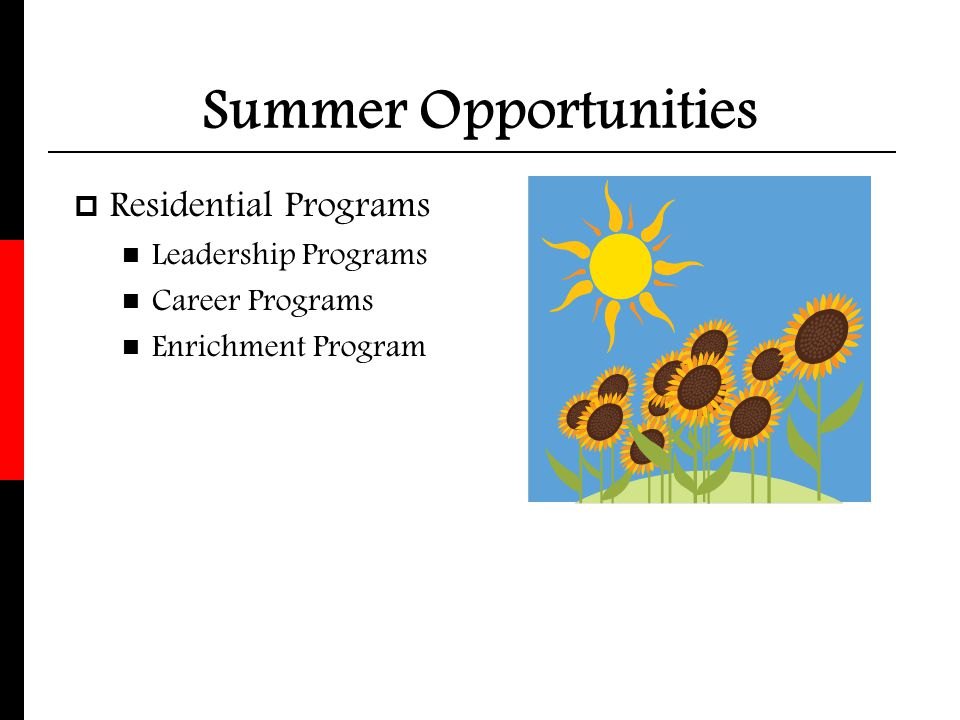 Summer Opportunities Residential Programs Leadership Programs