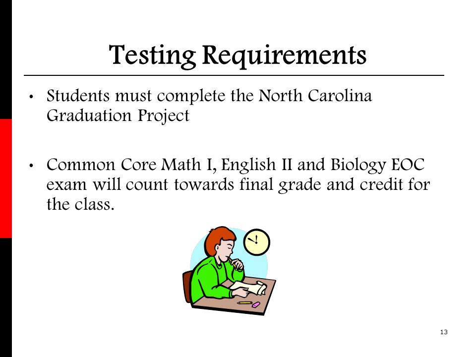 Testing Requirements Students must complete the North Carolina Graduation Project.