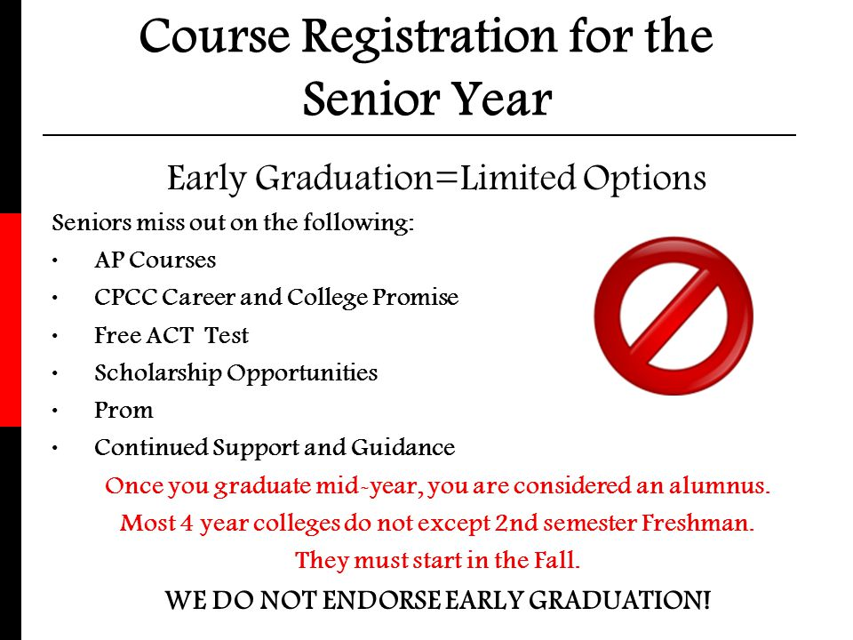 Course Registration for the Senior Year
