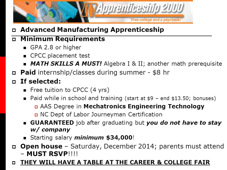 Advanced Manufacturing Apprenticeship Minimum Requirements