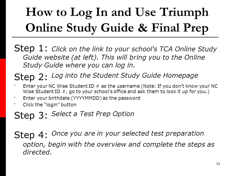 How to Log In and Use Triumph Online Study Guide & Final Prep
