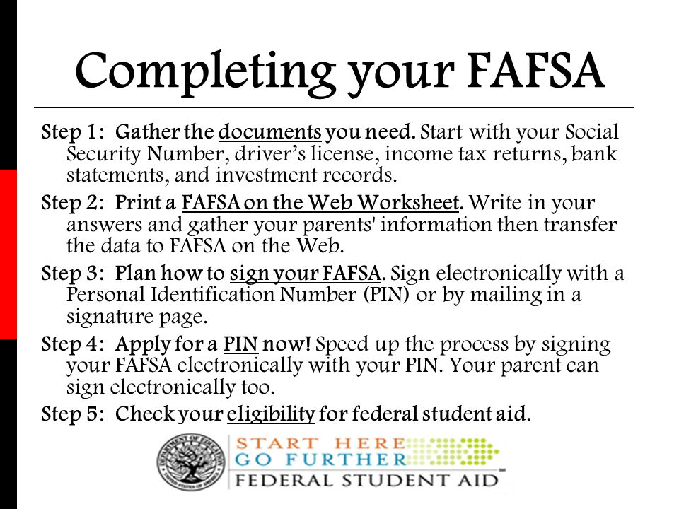 Completing your FAFSA