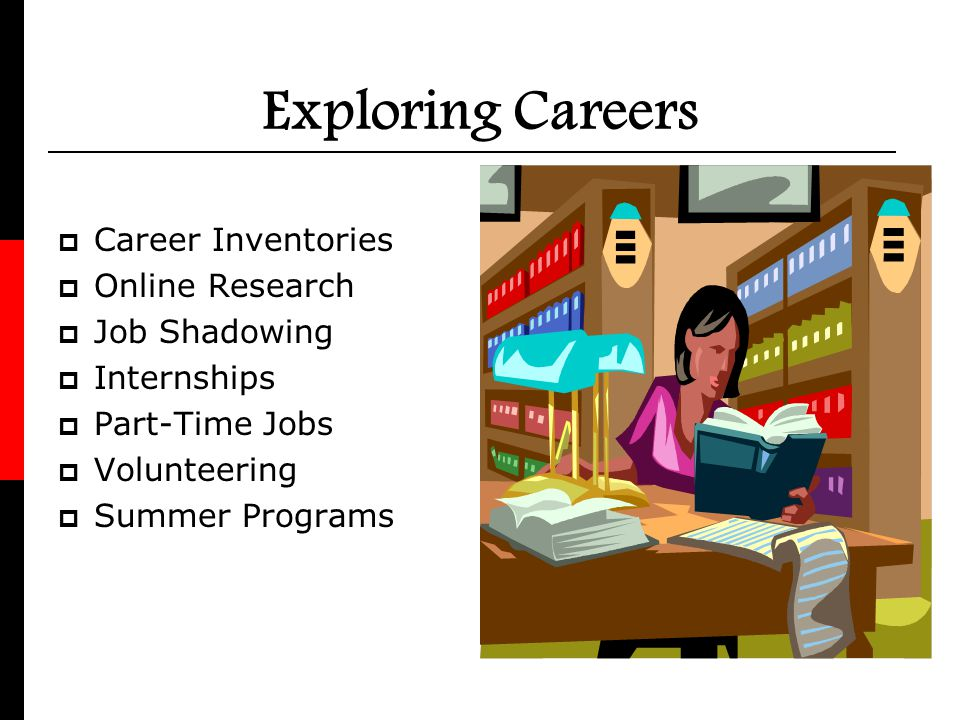 Exploring Careers Career Inventories Online Research Job Shadowing