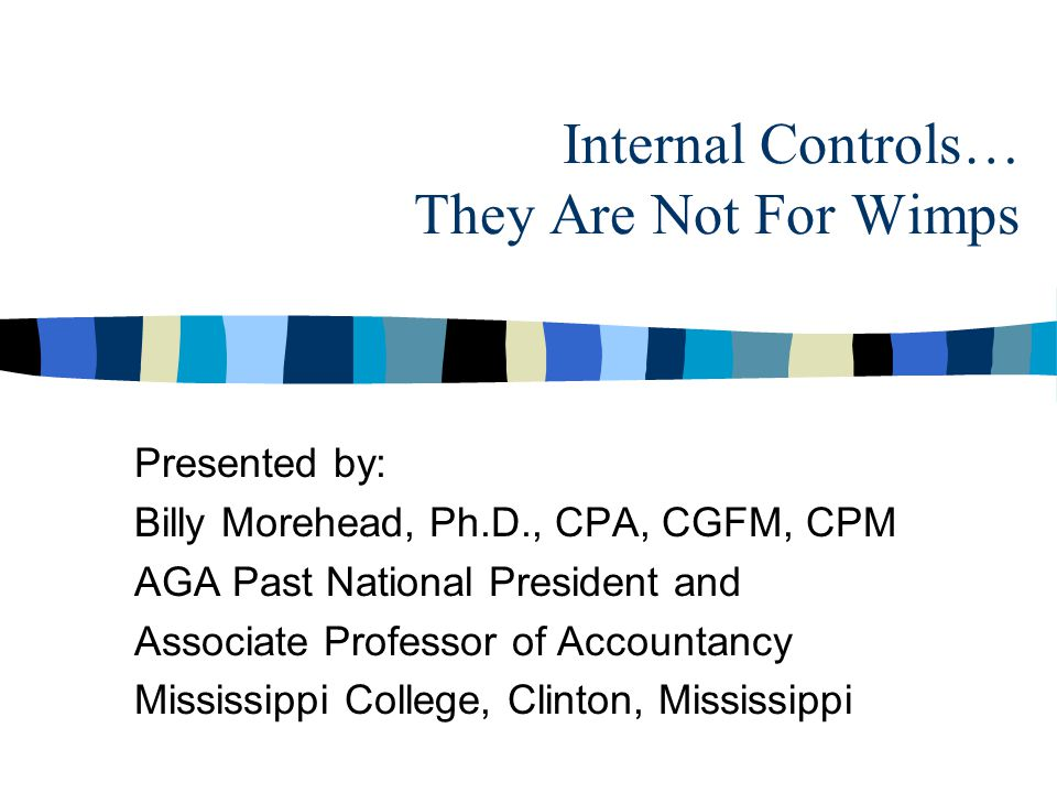 Internal Controls… They Are Not For Wimps