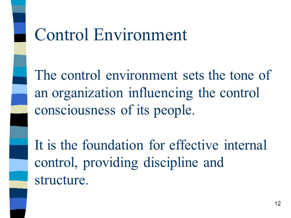 Control Environment The control environment sets the tone of an organization influencing the control consciousness of its people. It is the foundation for effective internal control, providing discipline and structure.