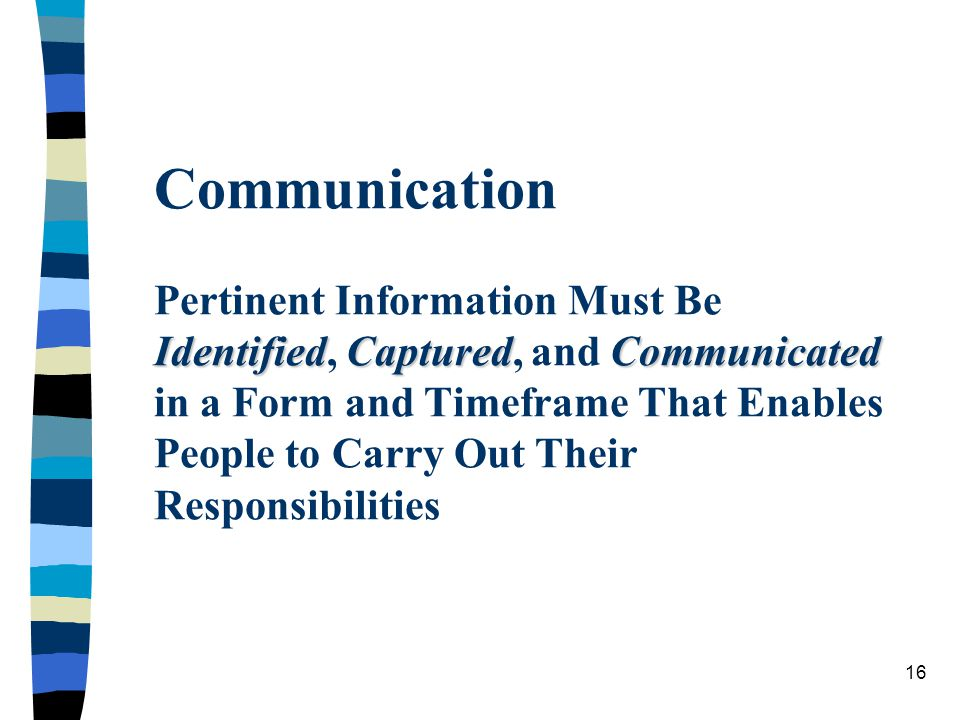 Communication Pertinent Information Must Be Identified, Captured, and Communicated in a Form and Timeframe That Enables People to Carry Out Their Responsibilities
