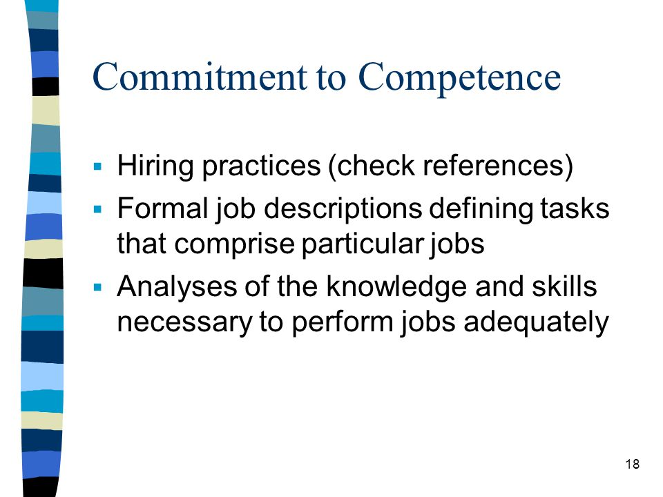 Commitment to Competence