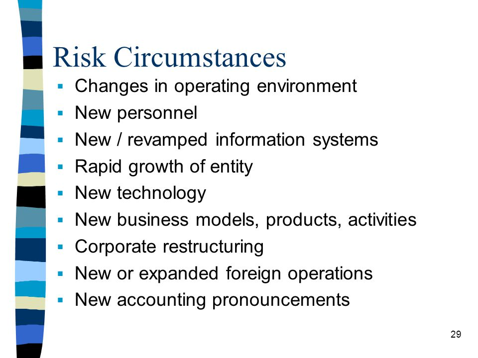 Risk Circumstances Changes in operating environment New personnel