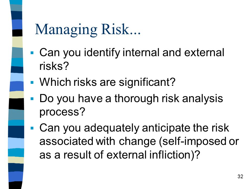 Managing Risk... Can you identify internal and external risks