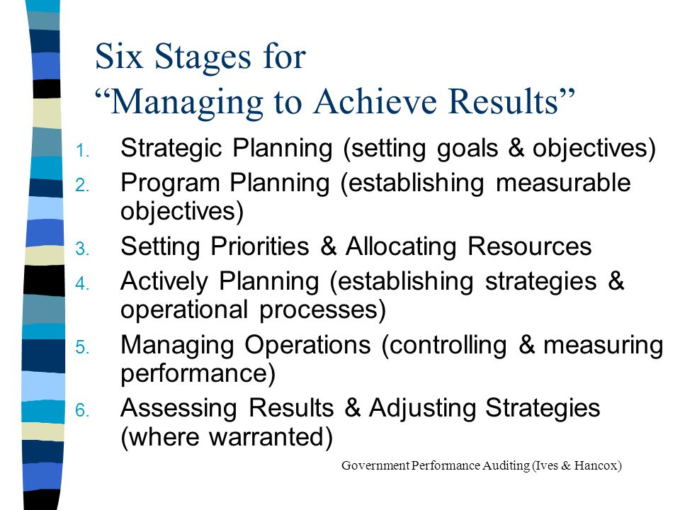 Six Stages for Managing to Achieve Results
