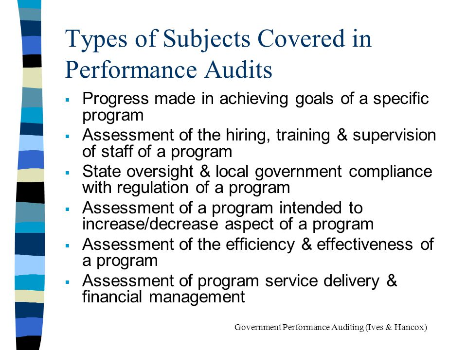 Types of Subjects Covered in Performance Audits