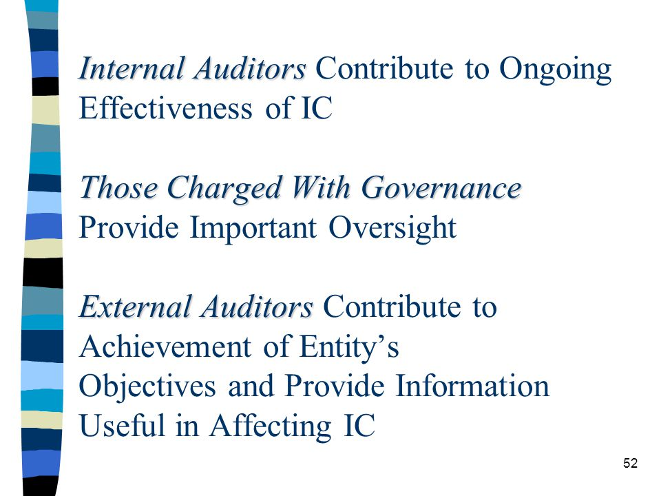 Internal Auditors Contribute to Ongoing Effectiveness of IC Those Charged With Governance Provide Important Oversight External Auditors Contribute to Achievement of Entity's Objectives and Provide Information Useful in Affecting IC