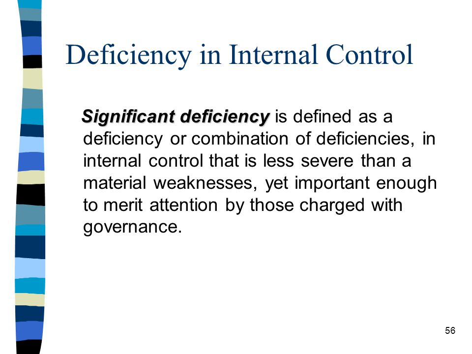 Deficiency in Internal Control