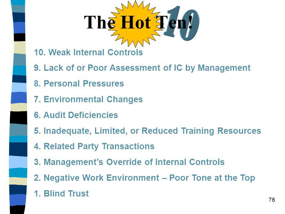 10 The Hot Ten! 10. Weak Internal Controls