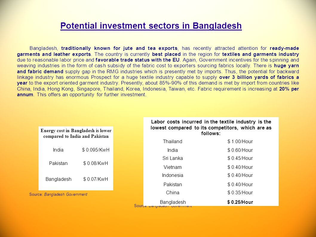 Potential investment sectors in Bangladesh