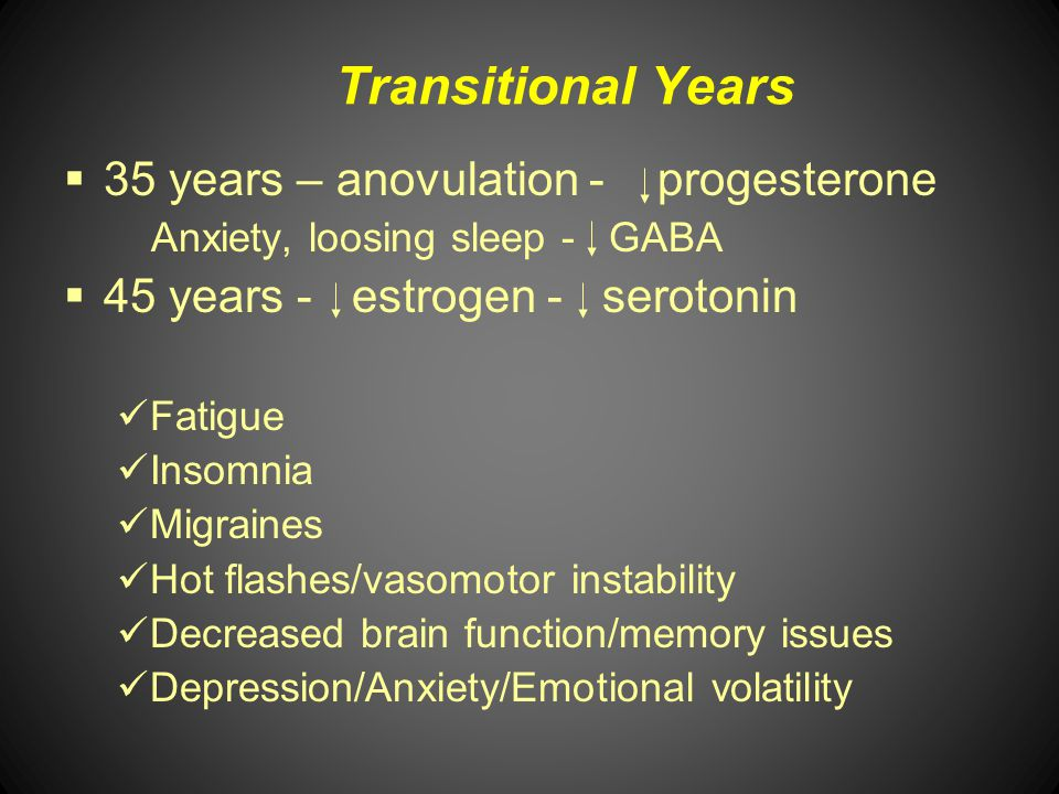 Transitional Years 35 years – anovulation - progesterone