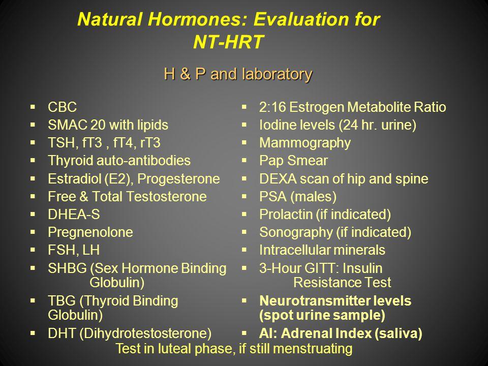 Natural Hormones: Evaluation for NT-HRT