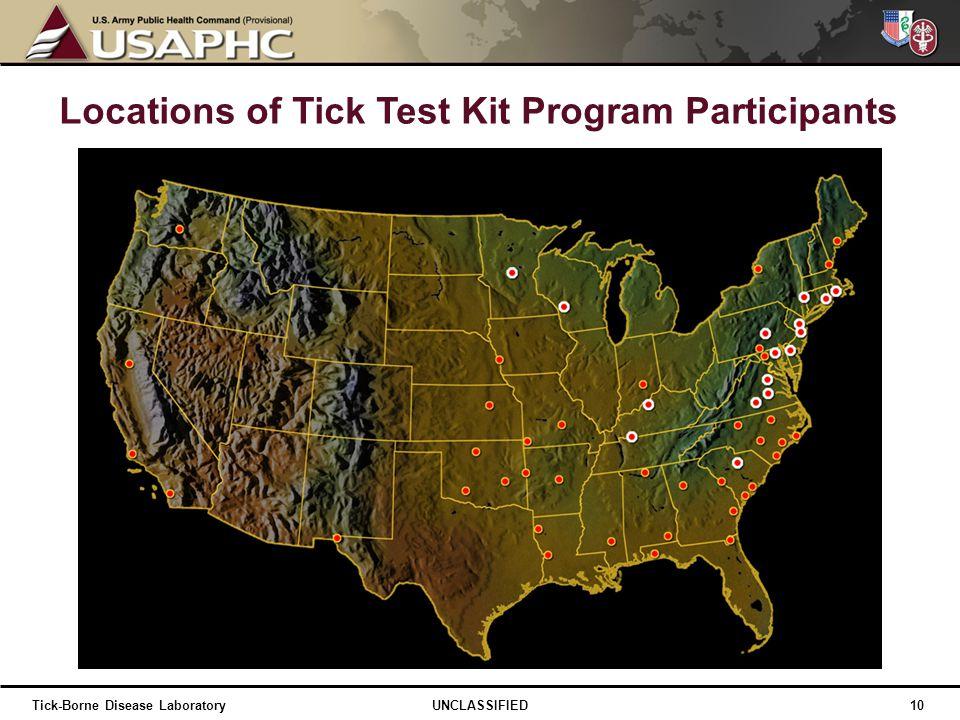 Locations of Tick Test Kit Program Participants