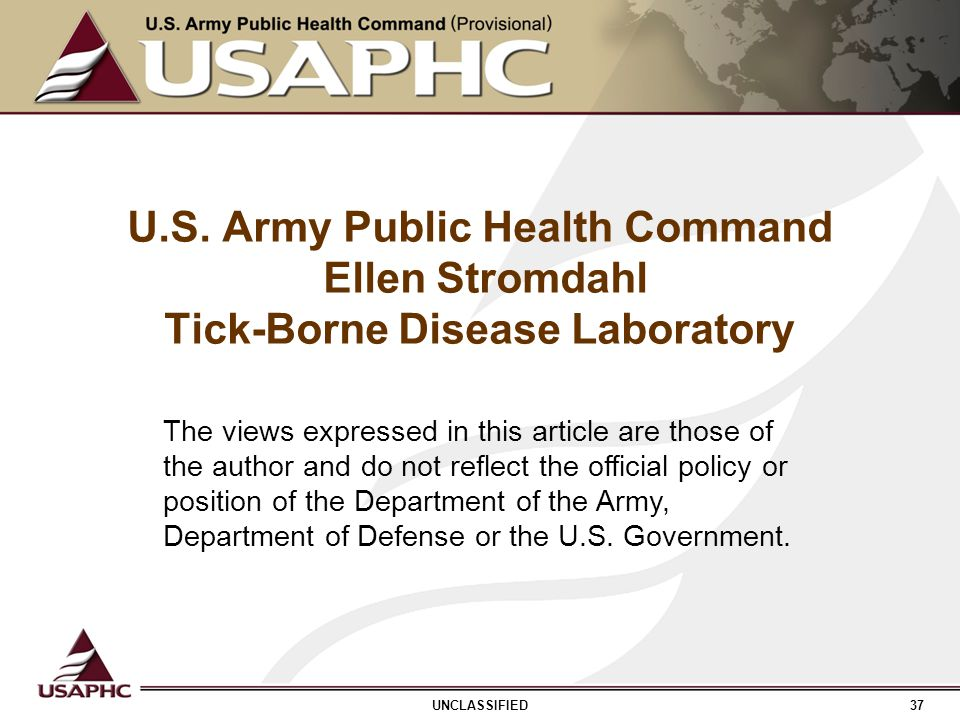 U.S. Army Public Health Command Ellen Stromdahl Tick-Borne Disease Laboratory