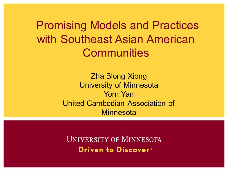 Promising Models and Practices with Southeast Asian American Communities