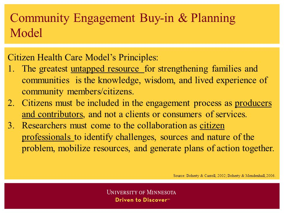 Community Engagement Buy-in & Planning Model