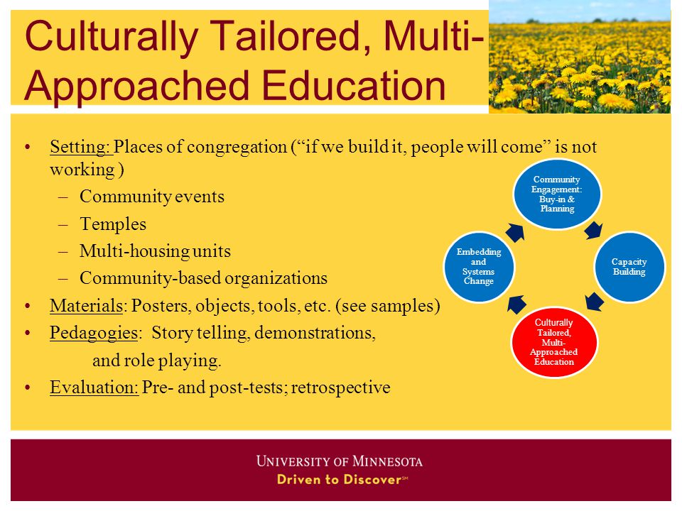 Culturally Tailored, Multi-Approached Education