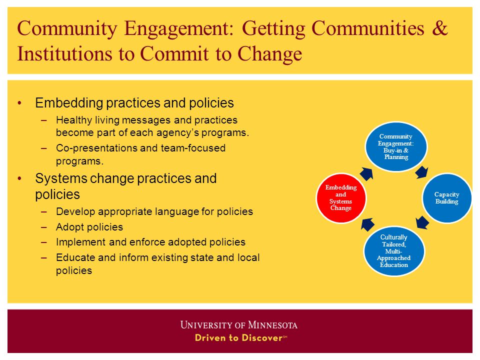 Community Engagement: Getting Communities & Institutions to Commit to Change