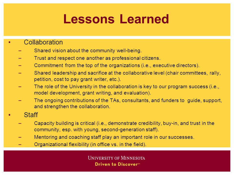 Lessons Learned Collaboration Staff