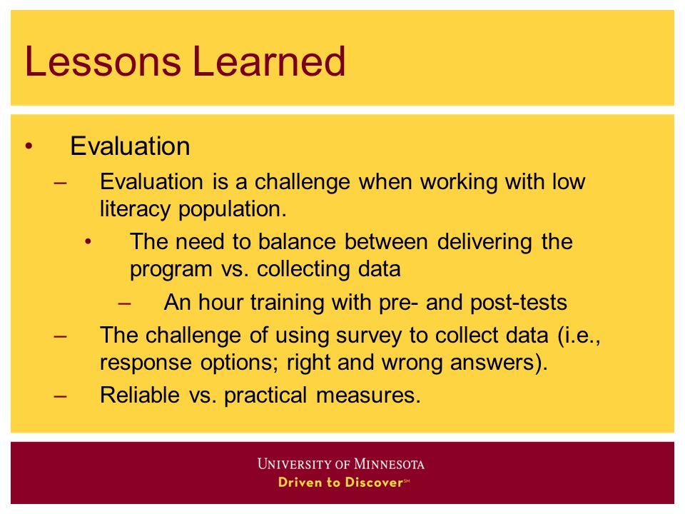 Lessons Learned Evaluation