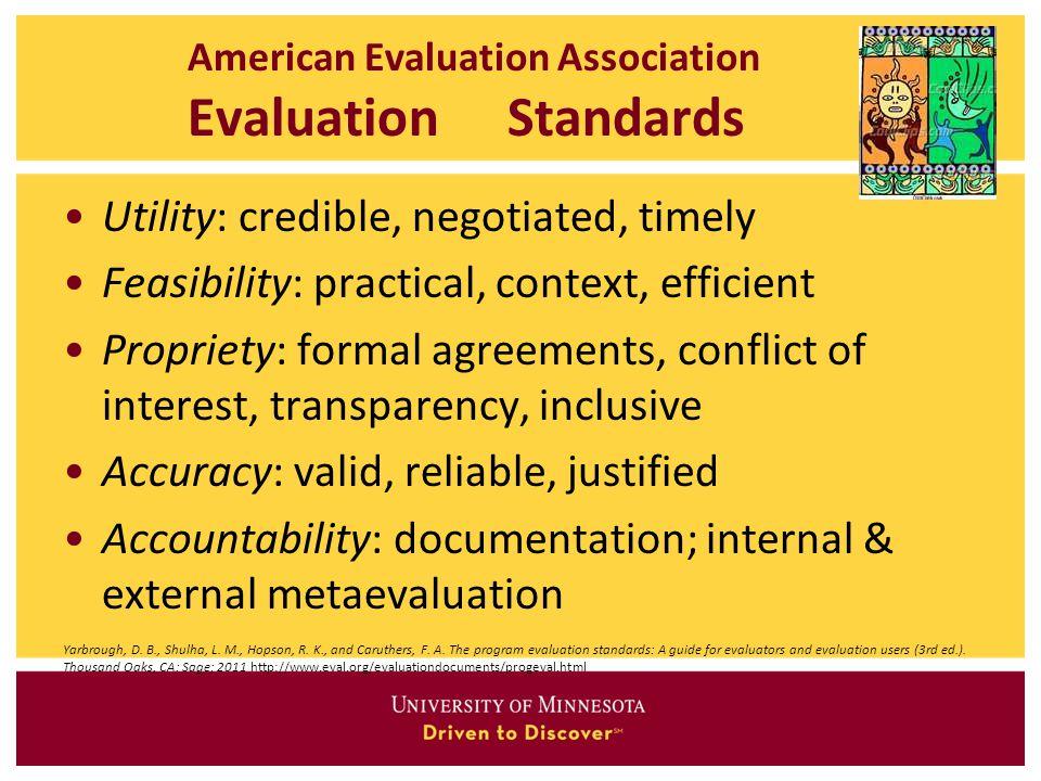 American Evaluation Association Evaluation Standards
