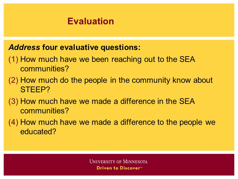 Evaluation Address four evaluative questions: