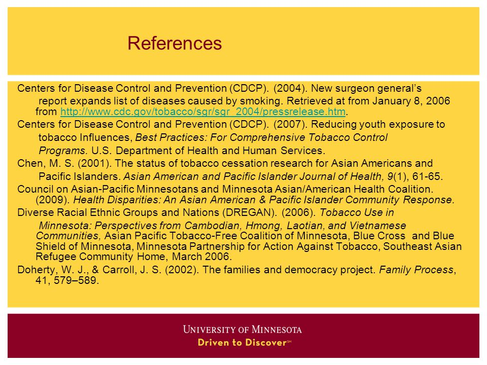 References Centers for Disease Control and Prevention (CDCP). (2004). New surgeon general's.