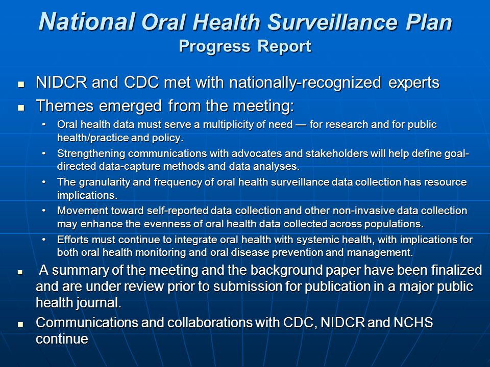 National Oral Health Surveillance Plan Progress Report